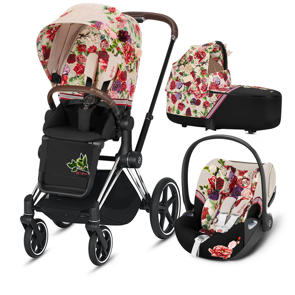 Коляска Cybex Priam III (3в1) Spring Blossom Light (Chrome/brown)