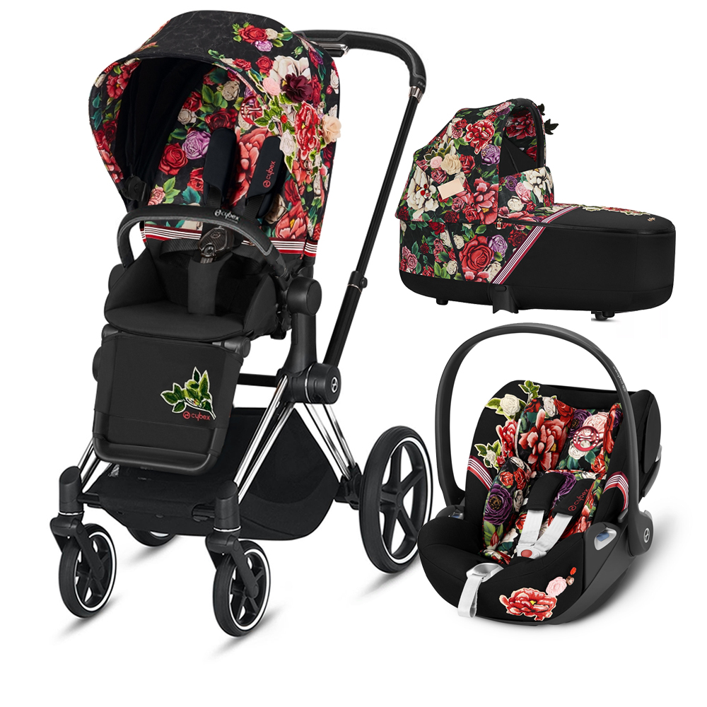 Коляска Cybex Priam III (3в1) Spring Blossom Dark (Chrome/Black)